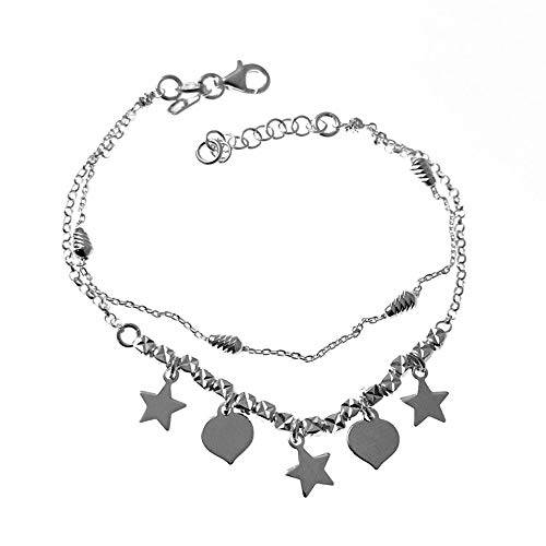 Minoplata Pulsera Doble Cadena con Estrellas y Corazones Colgantes Plata una Joya de Moda Ideal para una Mujer Que Adora los complementos Originales