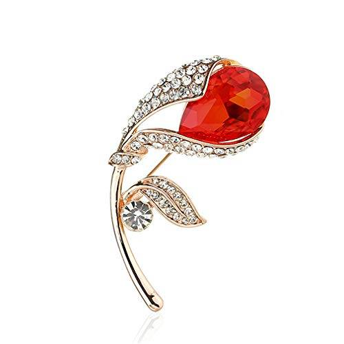 YAZILIND Flor Forma Broche Pin Elegante señoras Corsage Rhinestone Breastpin joyería Regalo Mujeres Accesorios de Ropa (#16)