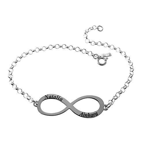 Minoplata Pulsera infinito personalizada con nombres de Plata de ley una joya muy simbólica ideal como regalo para amigas, enamorados. Preciosa para mujeres que adoran los complementos de moda