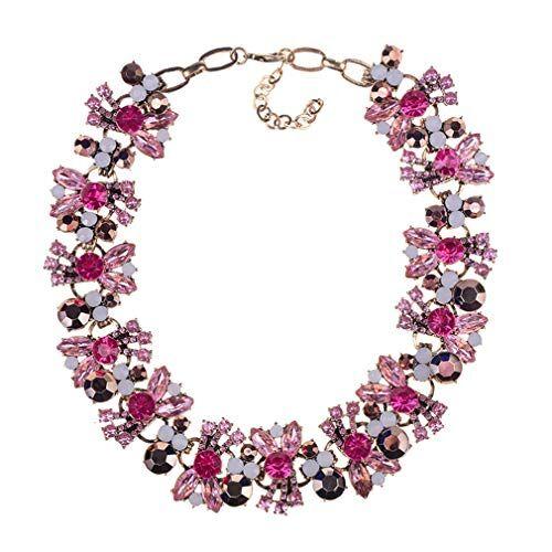 YAZILIND exagerado Collar de Piedra Preciosa Gargantilla Collar Personalidad Accesorios Accesorios de Ropa Mujeres mamá joyería Regalo (Rosa Rojo)