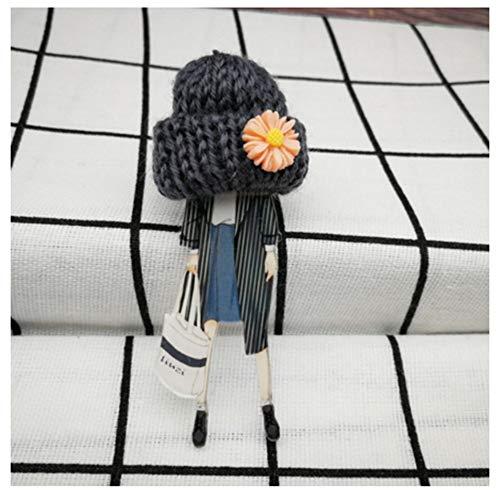 KAERMA Moda Broche de Lana Mujer Broches niñas Modelos Sombrero de la Historieta de Kawaii broches de acrílico Pompón Ropa joyería y Accesorios Accesorios Decorativos (Size : 5)