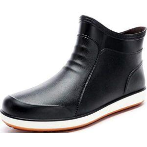 GILKUO Botas de Agua Hombre Cortas Bajas Botas de Lluvia Botines Goma Impermeable Wellington Boots Chelsea Wellies Negro Talla 42