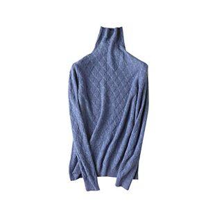 FHIORCK Suéteres de Cuello Alto Suéteres de Lana Pura para Mujer Suéter de Lana de Punto cálido Star Blue S