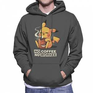 Cloud City 7 No Coffee No Workee Pikachu Men's Hooded Sweatshirt