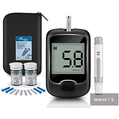 harpimer glucosa en sangre kit, tiras de prueba 50 + lancetas 50 para sinocare safe aq kit de monitor de azúcar en sangre