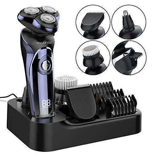 oxsaytee afeitadora electrica hombre 4d afeitadora rotativa inalámbrica impermeable ipx7, máquina de afeitar inteligente display digital, uso seco y húmedo, con cepillo facial y recortador de barba/nariz