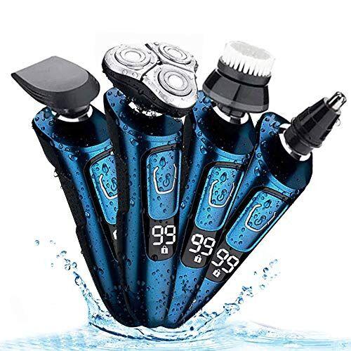 gieadun afeitadoras eléctricas rotativas para hombre/recortador de barba maquinilla de afeitar 4 en 1 trimmer de barba impermeable recargable para barbas, cuerpo, pelo de nariz(blue)