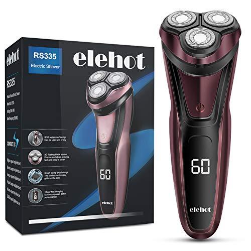 elehot afeitadora eléctrica hombre afeitadora rotativa profesional máquina de afeitar barba inalámbrica recargable con indicador rs335 elehot