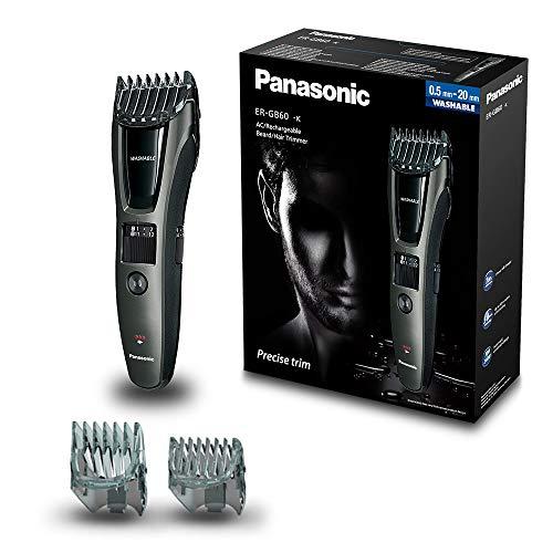 panasonic er-gb60-k503 - máquina cortapelos profesional hombre (para barba y cabello, acero inoxidable, wet&dry, batería recargable, 2 peines incluido, barbero eléctrico) color negro