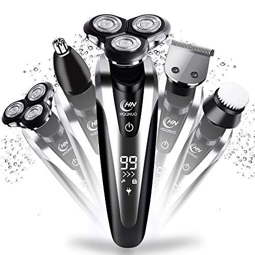 hqqnuo afeitadora eléctrica rotativa para hombre, 5 en 1 máquina de afeitar impermeable recargable con lcd display para hombre recortadora barba nariz, máquina afeitar barba uso en húmedo y seco