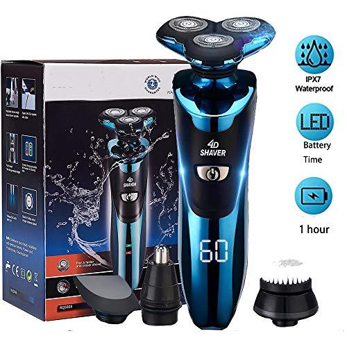 gieadun afeitadora electrica hombre, máquina de afeitar eléctrica ipx7 impermeable húmedo & seco usb quick recargable cortadoras de vello facial (blue)