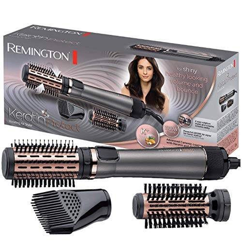 remington keratin protect as8810 - moldeador de pelo y cepillo térmico, cerámica, keratina y aceite de almendra, 1000 w, gris