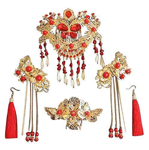 Black Temptation Tiara nupcial chino antiguo ropa joyería de la boda hermosa tocado-C2