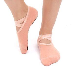 SANIQUEEN.G 2 Pares Mujer Calcetines de Yoga Pilates Calcetines Fitness/Danza/Ballet Calcetín Tamaño UK 2,5-7/EU 35-40 (Rosa Desnuda)