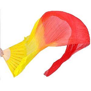 BELTRY Abanico de Seda Hecho a Mano, 1,8 m de bambú, para Danza del Viento, para Mujer, Naranja y Rojo.