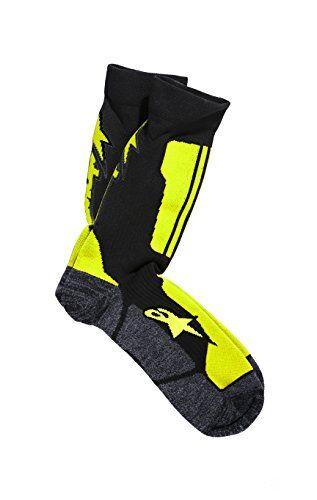 alpinestars hombres de tripulación calcetines, hombre, color black acid yellow, tamaño mediano