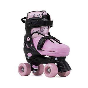 Sfr Skates SFR Nebula Adjustable Quad Skates Patines Patinaje Unisex Infantil, Juventud, Black/Pink, 29-33