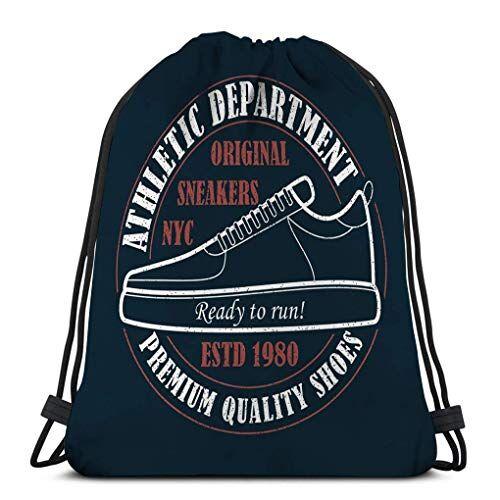KKs-Shop Mochila Deportiva con cordón Mochila para Hombre Mujer Zapatillas de Deporte de Nueva York Tipografía Grunge Ropa Calzado Deportivo Ropa de Producto Estampado