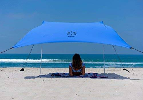 neso tienda de campaña tents beach con ancla de arena, toldo portátil sunshade 2.1m x 2.1m esquinas reforzadas patentadas(bigaro azul)