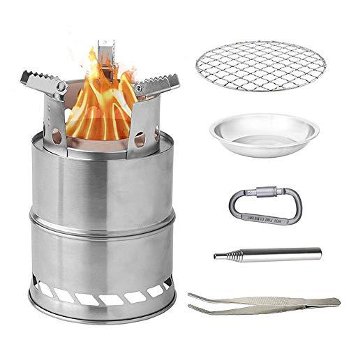 esplic estufa de camping portátil estufa de leña, estufa de mochilero plegable de acero inoxidable para senderismo al aire libre picnic versión mejorada para barbacoa