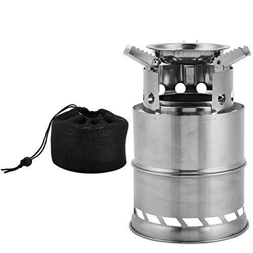 vgeby1 estufa de camping, quemador de leña mini camp estufa de alcohol de acero inoxidable con anillo de viento, caja de ceniza, soporte para cocinar con barbacoa