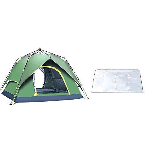yanzz tienda de campaña para acampada, tipo spinning automático, 2 o 3 personas, protector solar y resistente a la lluvia, portátil, tienda de campaña (color verde) dsfhsfd, verde