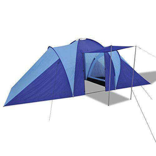 vidaxl tienda de campaña camping para 6 personas poliéster azul marino y claro