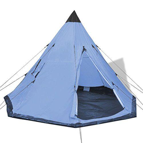 vidaxl tienda de campaña de 4 personas azul claro con bolsa carpa de camping