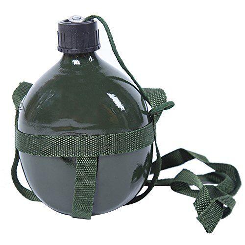 beetest 1l portátil al aire libre camping ejército verde militar agua cantimplora botella de aluminio con correa de hombro