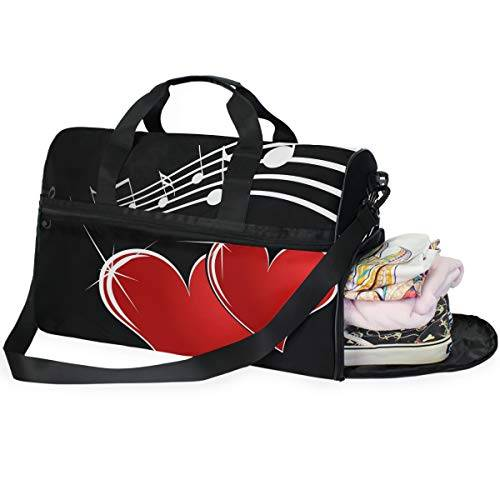 doshine bolsa de viaje con diseño de corazón rojo y notas musicales, bolsa deportiva de gimnasio, bolsa de equipaje de gran capacidad para hombres y mujeres