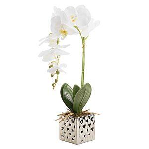SYMALL CLOCOLOR Flores artificiales de orquídeas Bonsái de Phalaenopsis con maceta de alta calidad para decoración hogar de fiestas (Blanco)