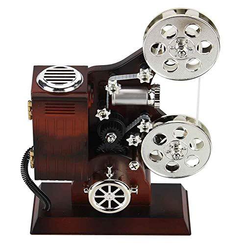 Fditt Fdit Vintage Music Box Mini Proyector de película Estilo Mecánico Regalo de cumpleaños Decoración de Mesa Mecánico Clásico Proyector de película Caja de música con joyero y Espejo