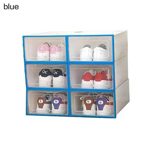 Beiouya - Caja transparente de plástico transparente para zapatos, cajón grueso de polipropileno, caja para sujetadores y ropa interior apilable y caja organizadora de calzado de bajo desgaste, 6 unidades., polipropileno plástico, Azul