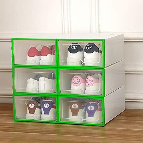 Beiouya - Caja transparente de plástico transparente para zapatos, cajón grueso de polipropileno, caja para sujetadores y ropa interior apilable y caja organizadora de calzado de bajo desgaste, 6 unidades., polipropileno plástico, Green