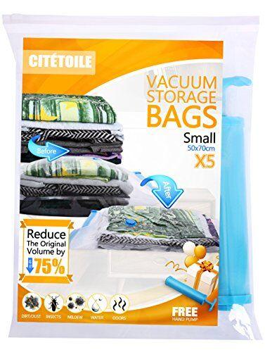 cittoile bolsas de almacenaje al vaci?o 5 pieza (50 x 70 cm) almacenamiento comprimido vacío reutilizables para la ropa, edredones, ropa de cama, viajar con equipaje de mano libre sello doble