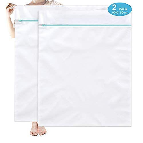 otraki red lavadora 2 pcs 90 x 110 bolsa colada con zip cremallera saco lavadora malla para lavandería y organizador de ropa para suéter, abrigo, ropa de cama