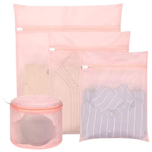 hivool bolsa malla de lavandería-conjunto de 4 bolsas (1xl & 1l & 1m & 1sujetador) para separar ropa en lavadora, proteger sujetadores lavadora, bolsa para la colada con cremallera cerrada
