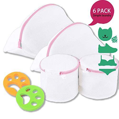 kirakira bolsa de lavandería de malla, saco lavadora para zapatos, 4pcs bolsas de colada de malla para prendas íntimas, ropa delicada y lencería,sujetador, 2pcs removedor de pelo para mascotas