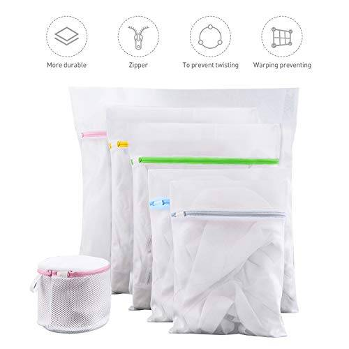 fansteck bolsas de lavadora, bolsas de colada de malla, 6 pack bolsas de lavandería con cremallera, bolsas de lavado reutilizables para ropa, ropa interior, sujetador, blusas, calcetería, camisetas
