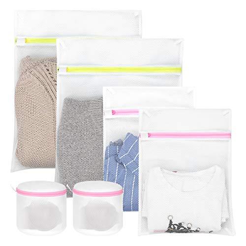 hivool bolsa malla de lavandería-conjunto de 6 bolsas (2l & 2m & 2sujetador) para separar ropa en lavadora, proteger sujetadores lavadora, bolsa para la colada con cremallera cerrada