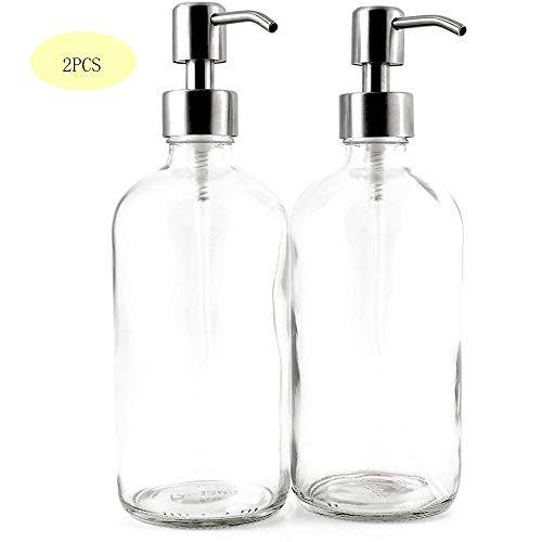 zqiny vidrio botella desinfectante de manos de rayas verticales 500 ml borrar botella redonda de vidrio boston con bomba de acero inoxidable (2 pack), dispensador de jabón, ideal for aceites, lociones, jabó