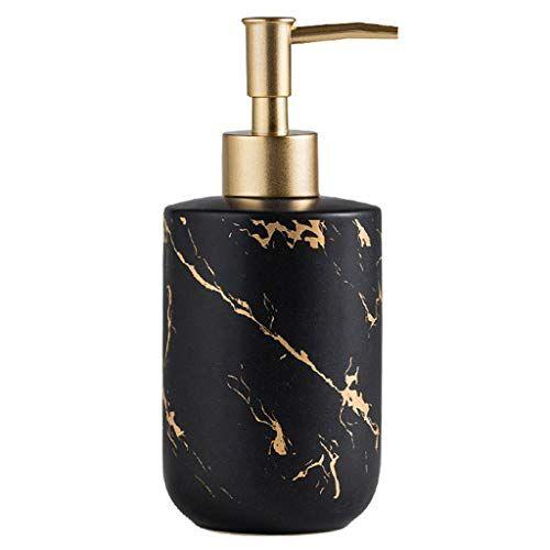 zxb-shop dispensador jabon cocina baño de cerámica dispensador de jabón desinfectante de manos botella de mármol dorado textura de metal mate cabeza de bomba de resorte de superficie de metal dosificador de bo