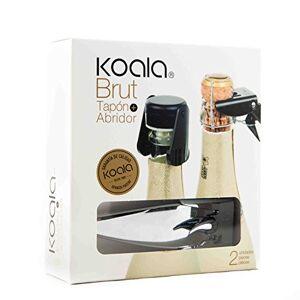 Koala Internatioal Kit para Champagne con 2 Piezas, Acero Inoxidable, Negro, 0 cm