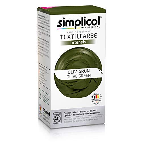 simplicol kit de tinte textile dye intensive verde : colorante para teñir ropa, tejidos y telas lavadora, contiene fijador para colorante líquido, anti alérgeno, no destiñe, seguro para su lavadora