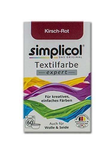 simplicol expert fabric dye tinte de coloración para textiles: lavado a mano o lavadora - tiñe y restaura sus telas y ropa - rojo cereza