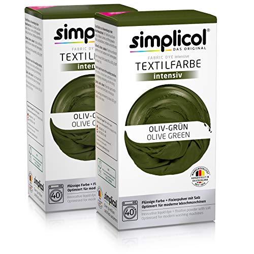 simplicol kit de tinte textile dye intensive verde: colorante para teñir ropa, tejidos y telas lavadora, contiene fijador para colorante líquido, anti alérgeno, no destiñe, seguro para su lavadora