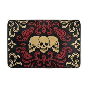 JIRT Anti Skid Non Slip Bedroom Pads Floor Area Rug Carpet Doormat Floral and Skull