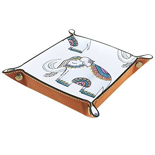 ColorMu Bandeja del valet del almacenamiento del escritorio, almacenamiento plegable de cuero de la joyería de la bandeja Elefante con ropa para escritorio, oficina, llave, joyería