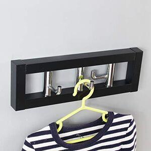 Nueva Idea Perchero de Pared Especial Color 35 x 10 cm, Negro/Plateado, 3 Ganchos