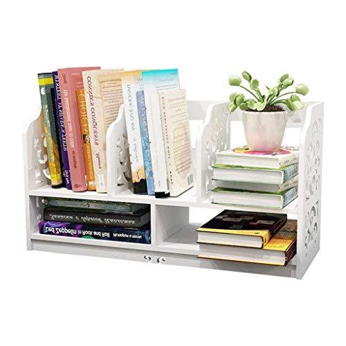 kgdc organizadores de documentos calado de madera blanca, independiente del estante de libro organizador de escritorio estacionario de almacenamiento dispositivo de estante de exhibición mantenga el escrit